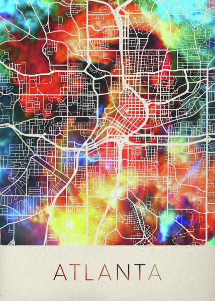 Wall Art - Mixed Media - Atlanta Georgia Watercolor City Street Map by Design Turnpike