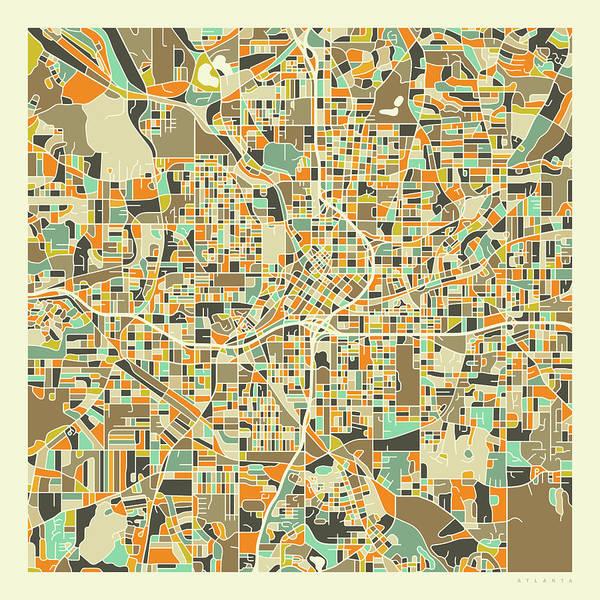 Atlanta Digital Art - Atlanta Map 1 by Jazzberry Blue