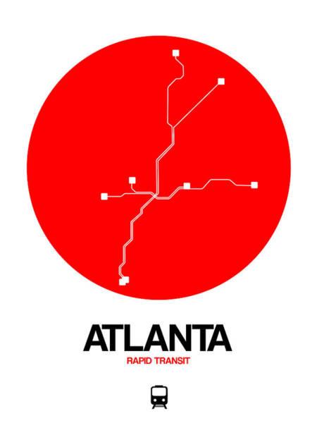 Unique Wall Art - Digital Art - Atlanta Red Subway Map by Naxart Studio