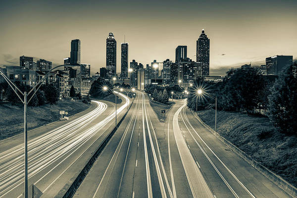 Photograph - Atlanta Sepia Skyline At Dusk by Gregory Ballos