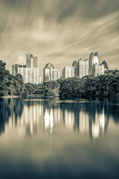 Photograph - Atlanta Sepia Skyline From Piedmont Park by Gregory Ballos