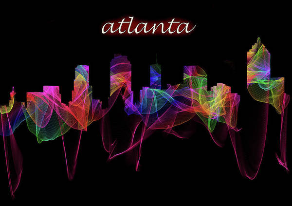 Digital Art - Atlanta Skyline Art With Script by Debra and Dave Vanderlaan