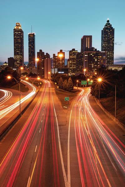 Photograph - Atlanta Skyline At Dusk - Jackson Street Bridge View by Gregory Ballos