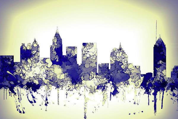 Wall Art - Digital Art - Atlanta Skyline Blue Yellow 2 by Marlene Watson