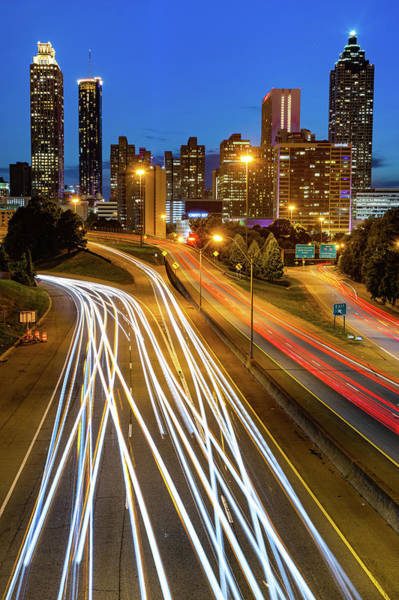 Photograph - Atlanta Skyline Changing Lanes by Gregory Ballos