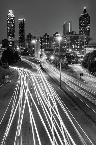 Photograph - Atlanta Skyline Changing Lanes - Monochrome Edition by Gregory Ballos