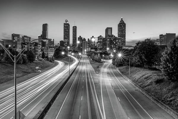 Photograph - Atlanta Skyline From Jackson Street Bridge - Monochrome Edition by Gregory Ballos