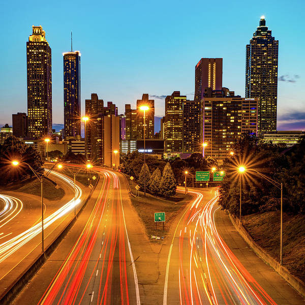 Photograph - Atlanta Skyline From Jackson Street Bridge - 1x1 by Gregory Ballos