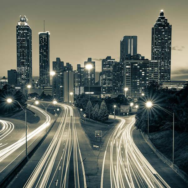 Photograph - Atlanta Skyline From Jackson Street Bridge - Sepia 1x1 by Gregory Ballos