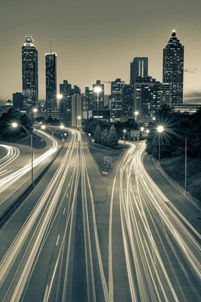 Photograph - Atlanta Skyline From Jackson Street Bridge - Sepia Edition by Gregory Ballos