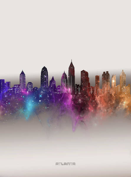 Wall Art - Digital Art - Atlanta Skyline Galaxy by Bekim M