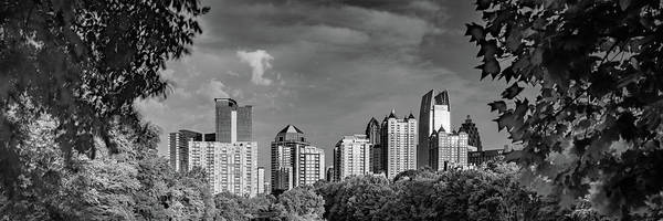 Photograph - Atlanta Skyline Monochrome Panorama Through The Trees by Gregory Ballos