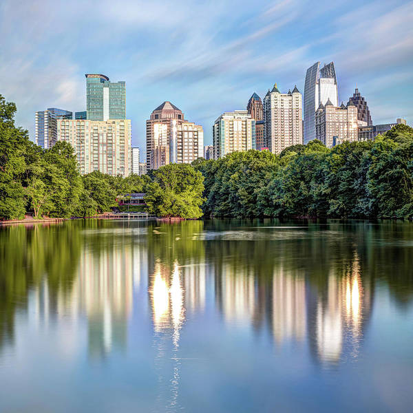 Photograph - Atlanta Skyline On Lake Clara Meer - Piedmont Park View 1x1 by Gregory Ballos