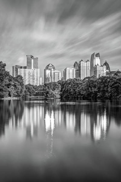 Photograph - Atlanta Skyline On Lake Clara Meer - Piedmont Park View Monochrome by Gregory Ballos