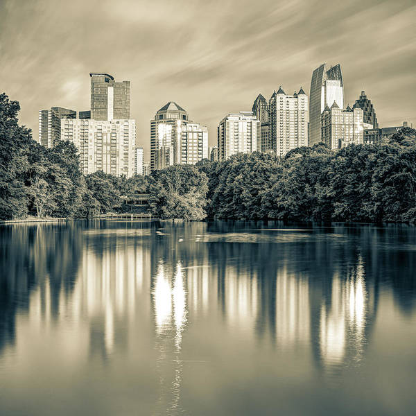 Photograph - Atlanta Skyline On Lake Clara Meer - Piedmont Park View Sepia 1x1 by Gregory Ballos
