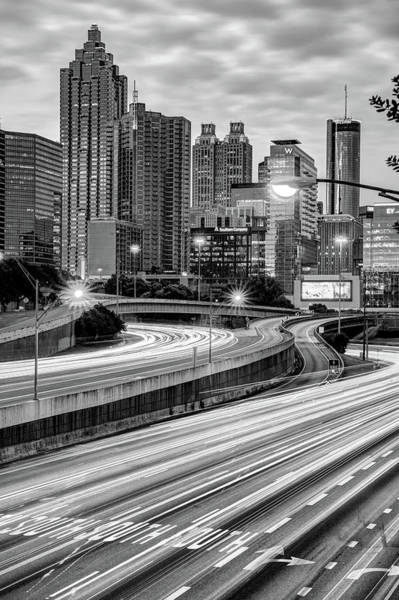 Photograph - Atlanta Skyline Over Interstate 85 - Monochrome by Gregory Ballos