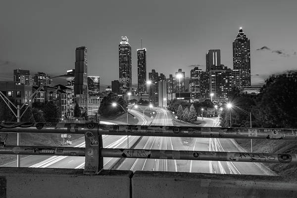 Photograph - Atlanta Skyline Over Jackson Street Bridge - Monochrome by Gregory Ballos