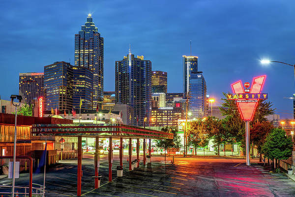 Photograph - Atlanta Skyline Over The Varsity At Dusk by Gregory Ballos