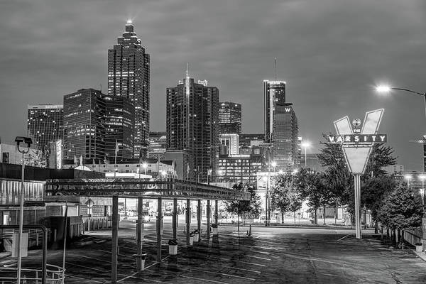 Photograph - Atlanta Skyline Over The Varsity - Monochrome Edition by Gregory Ballos