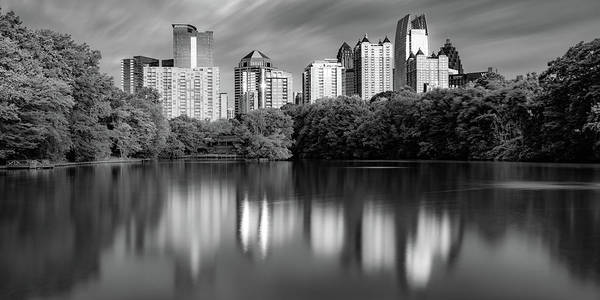 Photograph - Atlanta Skyline Panorama From Piedmont Park - Monochrome by Gregory Ballos