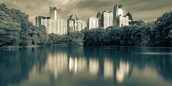 Wall Art - Photograph - Atlanta Skyline Panorama From Piedmont Park - Sepia by Gregory Ballos
