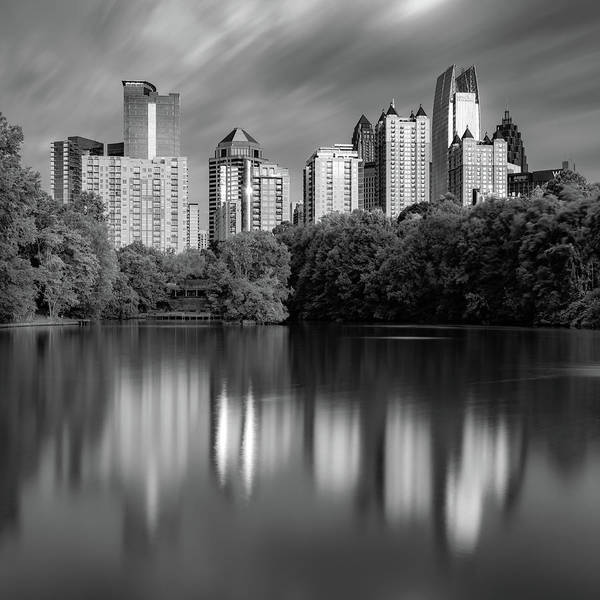 Photograph - Atlanta Skyline Reflections - Piedmont Park Lake Monochrome 1x1 by Gregory Ballos