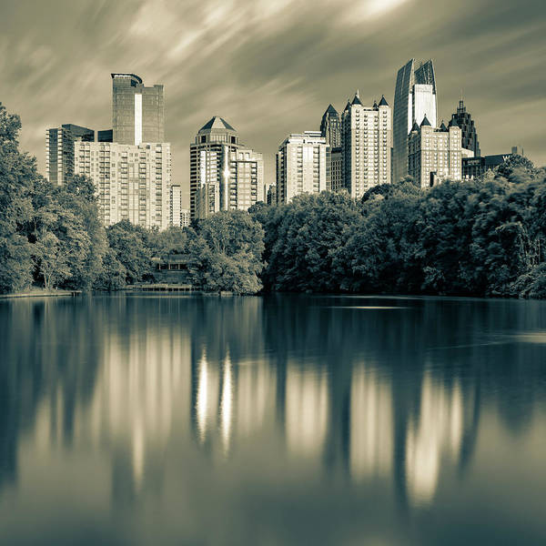 Photograph - Atlanta Skyline Reflections - Piedmont Park Lake Sepia 1x1 by Gregory Ballos