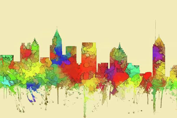 Wall Art - Digital Art - Atlanta Skyline Watercolor 2 by Marlene Watson