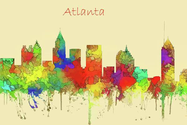 Wall Art - Digital Art - Atlanta Skyline Watercolor  by Marlene Watson