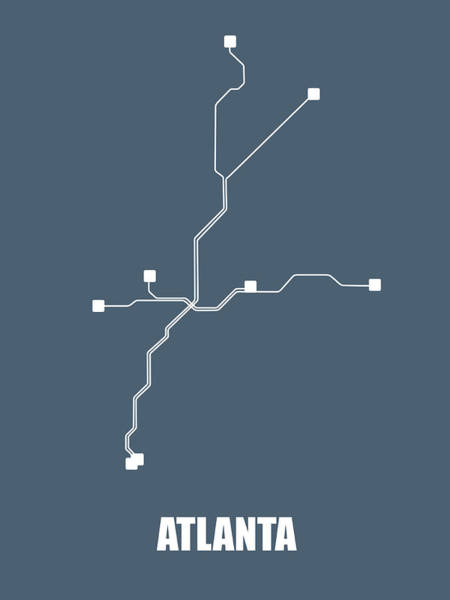 Wall Art - Digital Art - Atlanta Subway Map by Naxart Studio