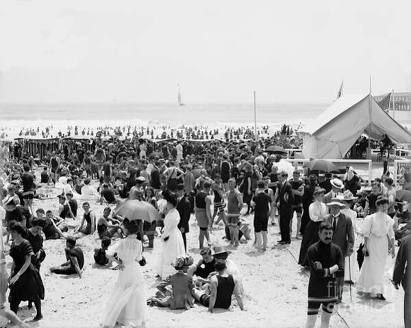 Wall Art - Photograph - Atlantic City Beach 1910 by Zal Latzkovich