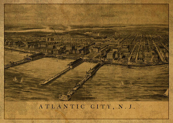 New Jersey Mixed Media - Atlantic City New Jersey Vintage City Street Map 1905 by Design Turnpike