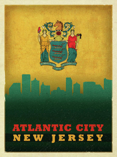 New Jersey Mixed Media - Atlantic City Skyline State Flag Of New Jersey by Design Turnpike
