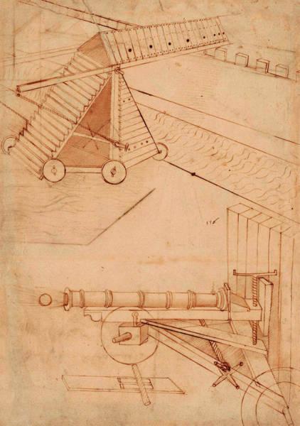 Ditch Painting - Atlantic Codex - Codex Atlanticus, F 49 Recto by Leonardo da Vinci