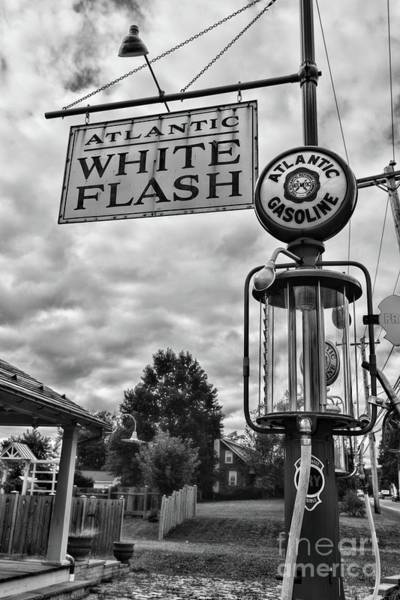 Wall Art - Photograph - Atlantic Gasoline Visible Gas Pump Black And White by Paul Ward