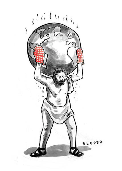 Wall Art - Drawing - Atlas Holding The Hot World by Brendan Loper