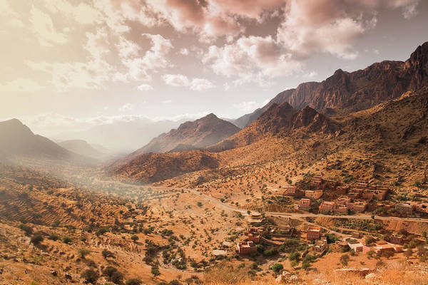 Mud House Photograph - Atlas Mountains With Town In Morocco by Artur Debat