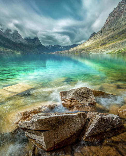 Photograph - Atmospheric / St. Mary Lake, Glacier National Park  by Nicholas Parker