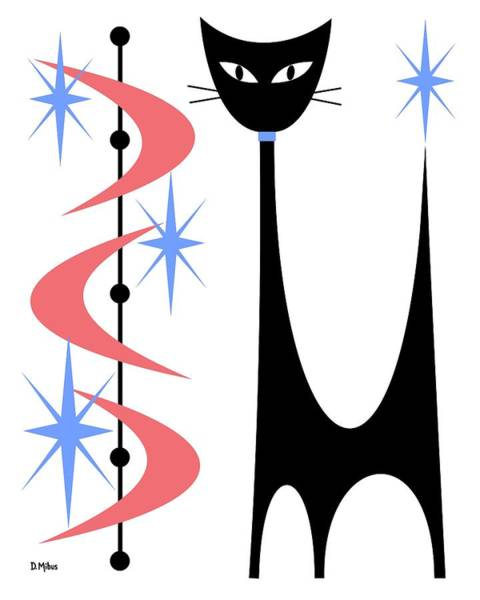 Digital Art - Atomic Cat Pink And Blue On White by Donna Mibus
