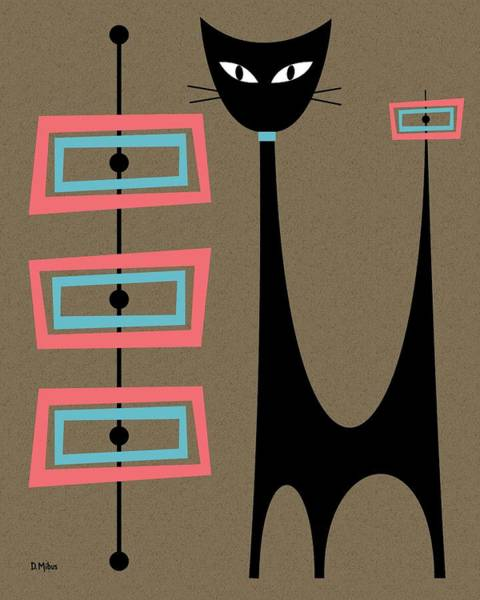 Digital Art - Atomic Cat Pink And Turquoise by Donna Mibus