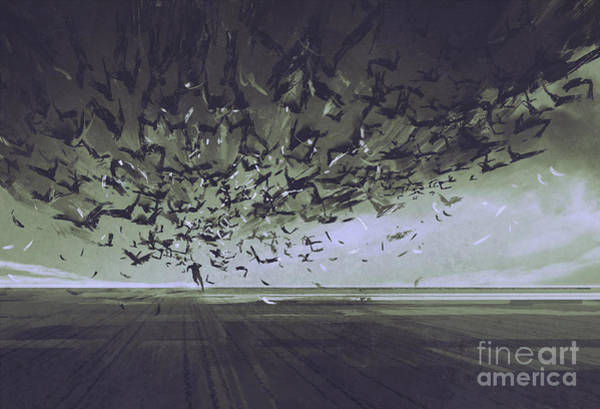 Wall Art - Digital Art - Attack Of Crows,man Running Away From by Tithi Luadthong