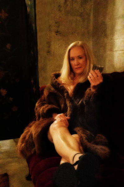 Photograph - Attractive Older Lady In Fur With Drink In Her Hand by Dan Friend