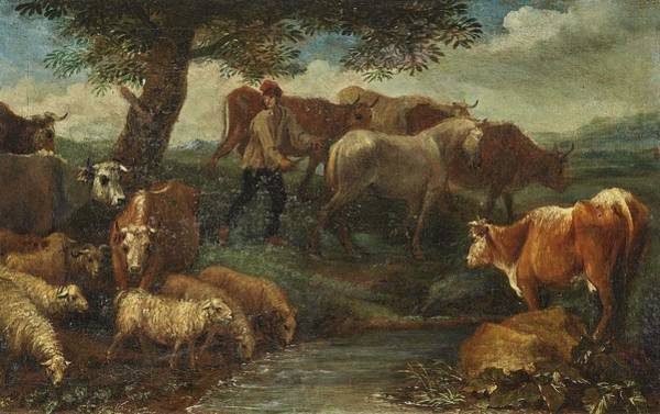 Wall Art - Painting -  Attributed To  Beich, Franz Joachim   Resting Shepherd With Cattle by Celestial Images