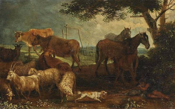 Wall Art - Painting -  Attributed To  Beich, Franz Joachim Shepherd With Cattle By The Water - Resting Shepherd With Cattl by Celestial Images
