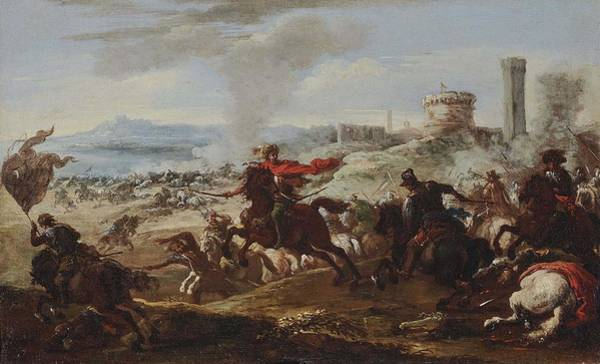 Wall Art - Painting -  Attributed To  Courtois, Jacques  Le Bourguignon A Cavalry Battle by Celestial Images