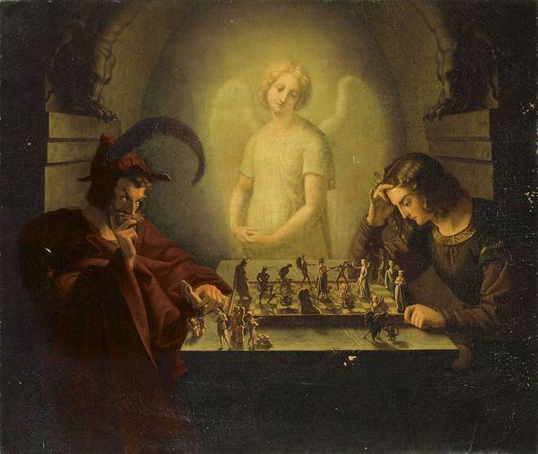 Wall Art - Painting - Attributed To Moritz Retzsch  Dresden 1779-1857 Radebeul The Game Of Life by Celestial Images