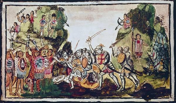 Aubin Codex Hernan Cortes Fighting The Indians. 16th Century. Madrid, National Library. Art Print