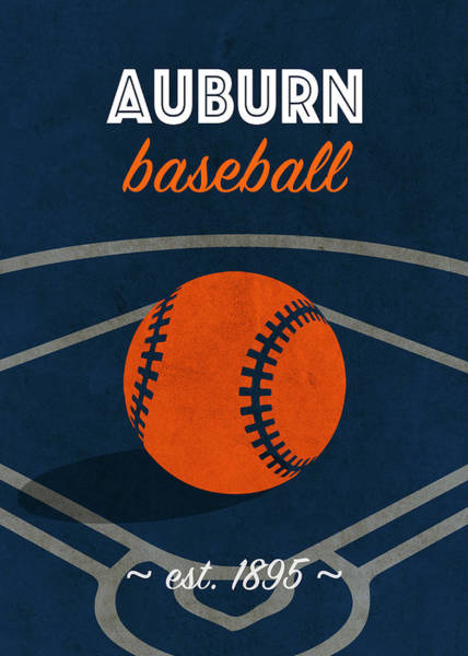 Wall Art - Mixed Media - Auburn Baseball College Sports Team Retro Vintage Poster Series by Design Turnpike