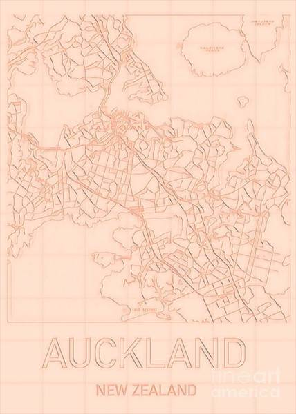 Digital Art - Auckland Blueprint City Map by Helge