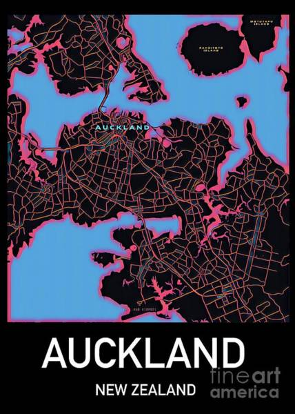 Digital Art - Auckland City Map by Helge